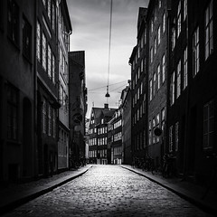 Cobblestone Street, Copenhagen (Mabry Campbell) Tags: copenhagen danish denmark europe architecturalphotography blackandwhite capitol capitolcity cobblesones curving fineartphotography image narrow photo photograph squarecrop street f28 mabrycampbell march 2012 march62012 201203065538 32mm ¹⁄₄₀₀sec 100 ef2470mmf28lusm