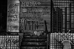 Home, Street Home (aliwton) Tags: ifttt 500px black white monochrome noir leica hybrid film digital silver gelatin street urban people homeless man human citizen sleep building abandoned empty unoccupied vacant for rent social problem poverty recife brazil south america