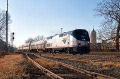 Departing the D (Wheelnrail) Tags: detroit amtrak ge p42dc michigan the d passenger train downtown