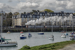 puffing towards Dun Laoghaire (Wendy:) Tags: dunlaoghaire steam engine train smoke coalharbour boats yachts