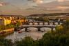 Prague bridges view (hjuengst) Tags: prag prague sunset sonnenuntergang czechrepublic tschechien bridge brücke charlesbridge karlsbrücke viewpoint goldeneslicht goldenlight