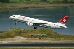 Over Ruins ! (GEORGE TSIMTSIMIS) Tags: a320 airmalta ruins f104gstarfighter house airport lgkr corfu greece travel aviation takeoff pentaxk10d panning telephoto kerkira sealake actionphoto highspeed outdoorphotography aircraft haf