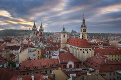Aerial View of Church of Our Lady before Tyn, Old Town and Prague Castle at Sunset, Prague, Czech Republic (ansharphoto) Tags: aerial architecture bohemia capital castle church city cityhall cityscape clocktower czech dusk europe european evening famous golden gothic hall history lady landmark landscape medieval night old outdoors praga prague praha red republic roof rooftops saint scenic sky skyline sundown sunset tourism tower town townhall travel tyn tyne urban view vitus