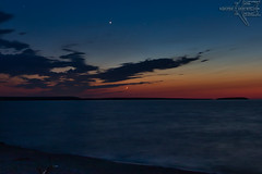 Venus and Newborn Moon (Winglet Photography) Tags: venus moon crescent sunset dusk evening twilight beach lake lakesuperior michigan up upperpeninsula autrain greatlakes wingletphotography georgewidener stockphoto earth canon 7d georgerwidener nature upnorth scenic scenery