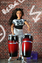 holly on drums (photos4dreams) Tags: holly dress barbie mattel doll toy photos4dreams p4d photos4dreamz barbies girl play fashion fashionistas outfit kleider mode puppenstube tabletopphotography redhead ginger flechtfrisur hat hut girlpower curvy kurvig mtm madetomove