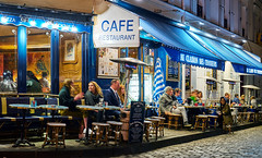 Montmartre Cafes (szeke) Tags: montmartre paris france cafe restaurant cobblestone citylights buildings shop commerce lifestyle enjoying happy