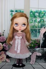 Ashes rose dress (Elena_art) Tags: blythe custom handknitted dress etsy