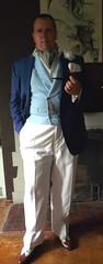 Blue DB Waistcoat 1 (Gutzvillier) Tags: ascot doublebreastedwaistcoat blazer watchchain dandy gentleman pocketsilk spectators summerattire buttoniere cigarette cigaretteholder smoking