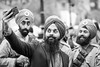 20180508_F0001: Group selfie with the soldiers (wfxue) Tags: vaisakhi festival sikh sikhism turban beard moustache uniform military soldier phone camera iphone selfie group people candid portrait blackandwhite bw bnw monochrome