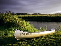 Down the River (parkerbernd) Tags: canoe trip down river trebel sunset light reed riverbank riverside shore evening rest break adventure germany