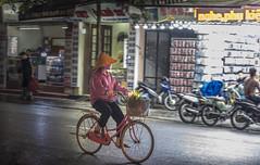 Hanoi night ride (lgflickr1) Tags: vietnamese vietnam streetphotography street southeastasia bicycle light lowlight night northvietnam nikon d750 transportation travel asia exterior hanoi lights outdoor people road urban city woman movement