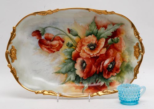 Jean Pouyat Limoges France Boldly Decorated Porcelain Ice Cream Tray ($134.40)