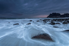 Blue tone (Mika Laitinen) Tags: canon5dmarkiv europe lofoten norway norwegiansea scandinavia uttakleiv beach cloud dawn daybreak dreamscape landscape longexposure mountain nature ocean outdoors rock sea seascape shore sky sunrise water wave winter nordland no