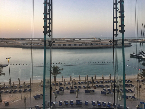 View of beach and pool area at Jumeirah Hotel, Abu Dhabi