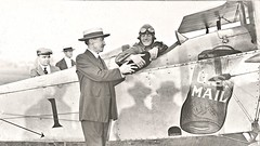 NY Post,master Patten handing last bag of mail destined for Chicago to Air Postman Max Miller Sept. 5, 1918 NARA165-WW-556C-001 (SSAVE over 10 MILLION views THX) Tags: usps unitedstatespostalservice airmail 1918 airplane aircraft armyaircorps