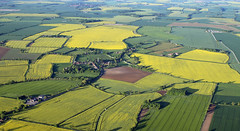 English late spring landscape (Dave Russell (1 million views thanks)) Tags: hot air balloon flight aerial land landscape view scene scenery field fields crop crops rape seed village lincolnshire england uk outdoor 2018