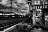 Next Stop Central Station (blende9komma6) Tags: hannover herrenhausen germany nikon d7100 sw bw centralstation train railroad zug haus cottage abandoned verlassen graffiti urban brücke bridge