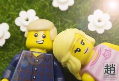 Sunshine (mikechiu86) Tags: lego figures minifigure toys subshine grass flowers romance couple love sun picnic green cute relationship