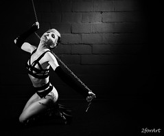 I Surrender... (2forArt) Tags: artistic woman studio shoot bw monochrome pose chains boots highheels