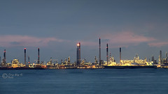 Processing Plant Across The Sea (terrywongyl) Tags: processing factory night chimney nightscape sea ship labradorpark bluehour blue hour dusk refinery