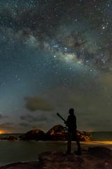 Cosmic Vibration (miTsu-llaneous) Tags: milkyway galaxy astronomy stars stargazing gazing person island people caribbean trinidad trinidadandtobago nikon d500 tokina 1116 cosmic music musician night astro astrophotography photography nature landscape seascape rock waves