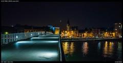 Footbridge (Falcdragon) Tags: zeissloxia2821 sonya7riialpha ilce7rm2 cityscape night liège nightphotography liege belgium wallonia luik lights meuse maas bridge water