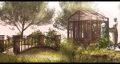 Quiet place to gather your thoughts (Alexa Maravilla/Spunknbrains) Tags: hometown illuminate littlebranch zoe toysdesignshop tmcreation happymood sl secondlife outdoors greenhouse bridge decor homegarden flowers statue blogger photography landscape