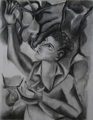 """19.05.18.  Participation au """"Musée Recopié"""" - Pont-Aven (Pata Croc) Tags: work museum pontaven france portrait deyrolle figurative flat flora fruit dry monochrome pastel stumping drawing situ"""
