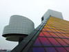 Rock Hall Of Fame Cleveland (michaelwalker19) Tags: rockandrollhalloffame cleveland downtowncleveland colors selectivecolor glass architecture museums highkey angles clevelandarchitecture