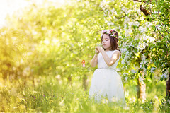 IMG_0234 (Galika_) Tags: beautiful sweet sweetnest girl cute child cgildhood magic magical garden apple flower wreath dress white dreaming dream park outdoor sunny sundown lovely spring boho