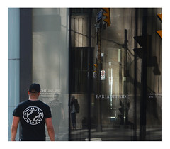 The reigning champ and I (mcfcrandall) Tags: reflection photographer window streets man walking streetlights trafficlights