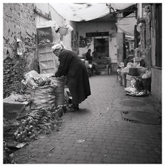 Carefulness (Mark Dries) Tags: markguitarphoto markdries hasselblad500cm planar carlzeiss 2880mm ilford fp4 r09 125 900 mediumformat streetphotography fes fez morocco market film filmphotography