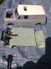 Component parts laid for your perusal. (donaldhandley) Tags: minivan mini van model resin kit cream green 124 tamiya scale