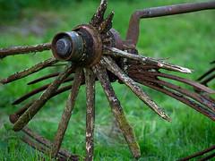 3 Wheels on my Wagon (fstop186) Tags: wheel wooden spokes broken rotten decay neglected abandoned farm axle kwikfit cart grass puncture repair threewheelsonmywagon newchristyminstrels rust hub spindle moss