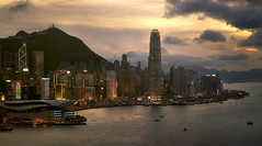 Hong Kong skyline at sunset (Massetti Fabrizio) Tags: cityscape cina china color clouds city sunrise sun sunlight sunset hongkong fabriziomassetti famasse landscape landscapes light skiline red rosso