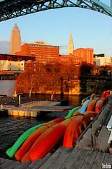Kayaks on the Cuyahoga (Thom Sheridan) Tags: thomsheridan industrial flats city skyline dusk 2018