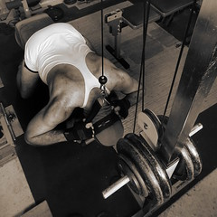 Neck It (licornenoir) Tags: people man weight training home gym