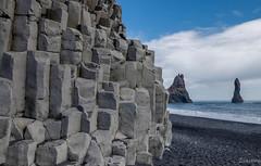 Columnar basalt (Reynisfjara) explored (einisson) Tags: columnar reynisfjara reynisdrangar iceland suðurland rocks clouds sky sand outdoor landscape einisson canon70d