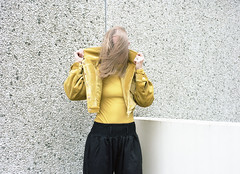 Charlotte Parker (fraser_west) Tags: portrait hair yellow estate youth film kodak portra 120 pentax brutalist flats london wetheconspirators