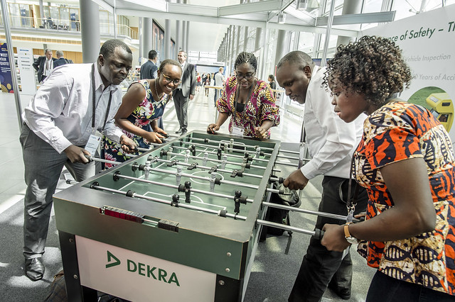 Visitors enjoying their time at DEKRA's exhibition stand