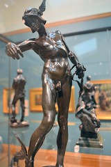 Alfred Gilbert (1854-1934) - Perseus Arming (1881-3), front, ankles upward, Ashmolean Museum, Oxford, August 2016 (ketrin1407) Tags: alfredgilbert perseus bronze statue statuette sculpture nude naked sensual erotic sword helmet wingedhelmet sandals wingedsandals mythology ashmoleanmuseum oxford