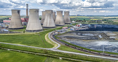 66742 at Cottam Power Station (robmcrorie) Tags: cottam power station nottinghamshire 6f71 immingham coal gbrf 66742 unloading phantom 4 train rail railway freight west burton