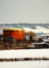 20101220 Gas ([Ananabanana]) Tags: nikon d40 gimp photoscape tamron 70300mm 70300 tamron70300mm tamron70300mmaff4556dildmacro tamronaf70300mmf456dildmacro tamronaff4556dildmacro 70300mmf456dildmacro 70300mmf456dildm nikonistas nikonista architecture building uk unitedkingdom dorking farm rural farmland surrey gas gasholder tank countryside snow snowy winter orton