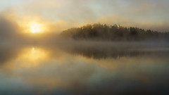 'Morning's Promise' (Canadapt) Tags: lake sunrise island reflection fog mist morning keefer canadapt