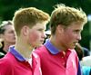 Prince Harry (L) and Prince William take part in an exhibition polo match July 15, 2001 at Cirencester Park Polo Club in Gloucestershire, England. (Photo by Anthony Harvey/Getty Images)