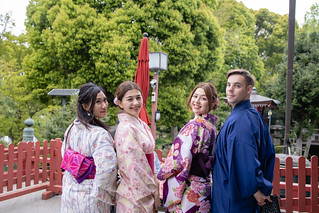 Group shot of multi-ethnic group of people in kimono