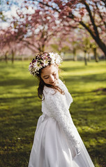 First Communion (Wojtek Piatek) Tags: communion girl child dress spring flowers dublin ireland sonya7rii 35mm outdoor park sunny sky blue wojtek piatek photography film vsco
