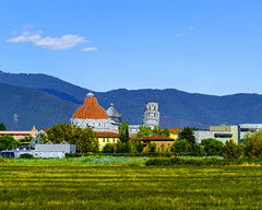 Pisa form the Road (Daveyal_photostream) Tags: pisa italy igitlay ancient old historic meandmygear mygearandme mycamerabag motion movement bluesky clouds church travel vacation grass mountains landscape nikon nikor d600 tuscany beautiful beauty mountain mountainrange buildings architecture windows doors catholicchurch