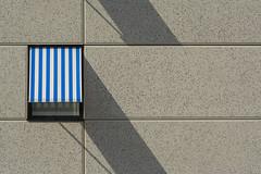 Blue and white sun blind (Jan van der Wolf) Tags: map18475v shadowplay shadow schaduw schaduwspel lines lijnen lijnenspel interplayoflines playoflines zonnescherm blue white blauw wit facade gevel sunscreen sunshade sunblind gebouw geometric geometry geometrisch geometrie