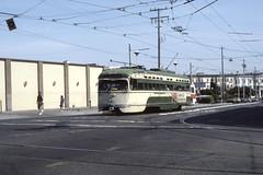 US CA San Francisco MUNI PCC 1113 6-1982 (David Pirmann) Tags: california sanfrancisco muni tram trolley streetcar transit railroad transportation pcc